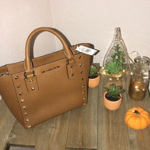 """New!Michael Kors """"Sandrine Stud"""" small satchel bag"""